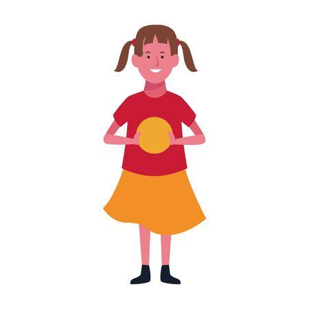 cartoon happy girl icon over white background, vector illustration Illusztráció