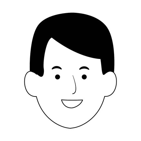 cartoon man face icon over white background, vector illustration Illustration