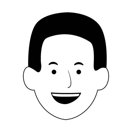 cartoon man smiling icon over white background, vector illustration