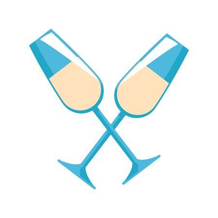 Sparkling wine glasses crossed icon over white background, vector illustration Foto de archivo - 134795047