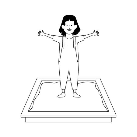 happy girl in sandbox icon over white background, vector illustration Archivio Fotografico - 134705929