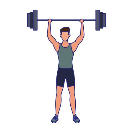 avatar man lifting weights icon over white background, vector illustration Illustration