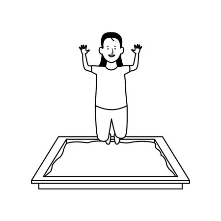 cartoon girl in sandbox icon over white background, vector illustration