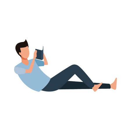 avatar lying man reading a book icon over white background, vector illustration