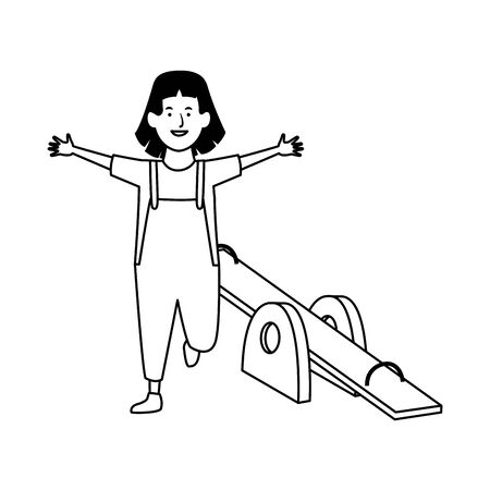 happy girl and seesaw icon over white background, vector illustration