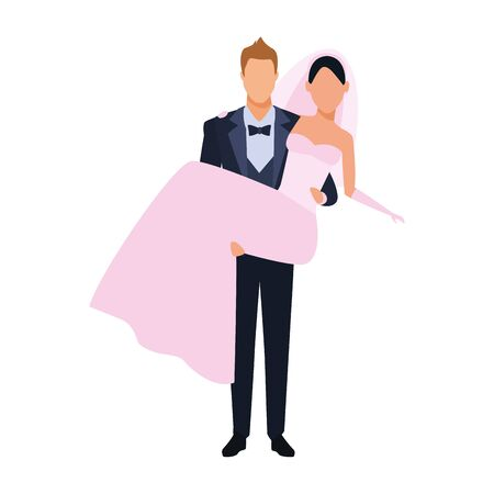 groom carrying bride icon over white background, vector illustration
