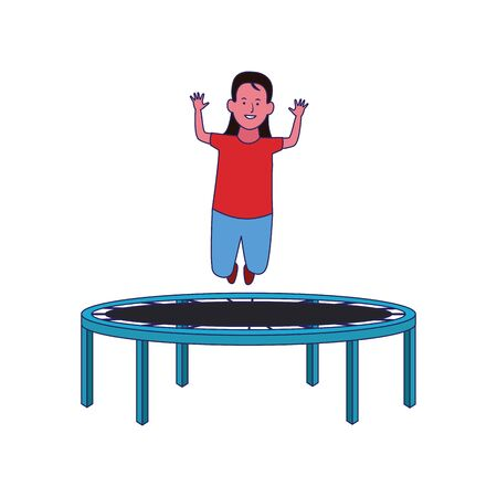 happy girl jumping on trampoline over white background, vector illustration Archivio Fotografico - 134705400
