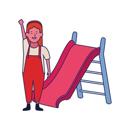 happy girl and slide playground over white background, vector illustration Archivio Fotografico - 134708719