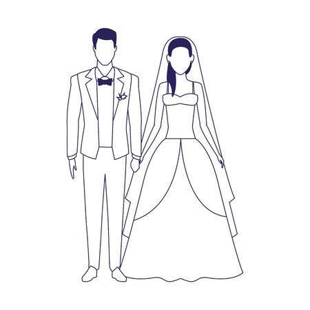 married couple icon over white background, vector illustration Illusztráció