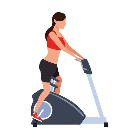 avatar woman on gym machine icon over white background, vector illustration Illustration