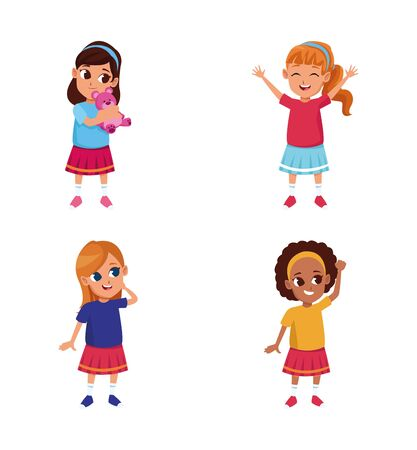 cartoon girls icon set over white background, vector illustration 일러스트