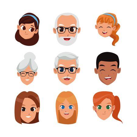 set di icone di volti di persone dei cartoni animati su sfondo bianco, illustrazione vettoriale Vettoriali