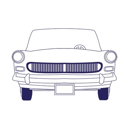 front view of classic car icon over white background, vector illustration Foto de archivo - 134795438
