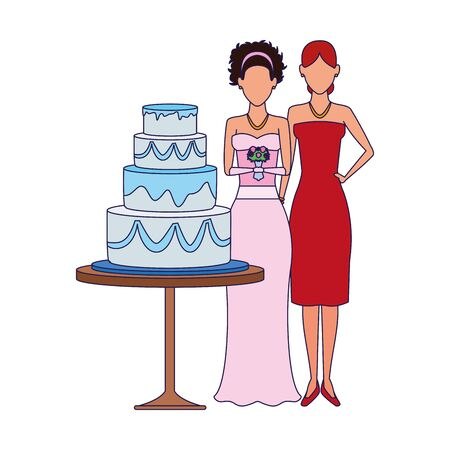 avatar bride and woman standing around the wedding cake icon over white background, vector illustration