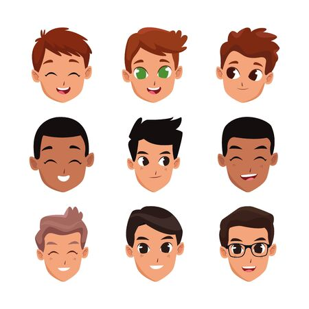 cartoon men faces icon set over white background, vector illustration