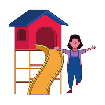 happy girl and outdoor playground over white background, vector illustration Archivio Fotografico - 134709978