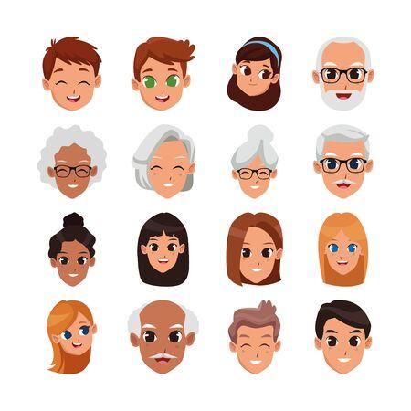 Conjunto de iconos de caras felices de personas de dibujos animados sobre fondo blanco, ilustración vectorial
