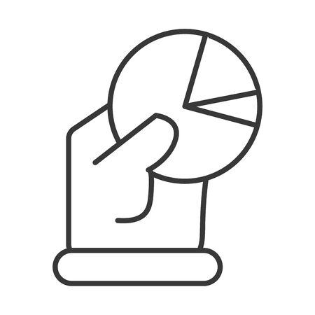 business hand lifting with statistics pie vector illustration design Çizim