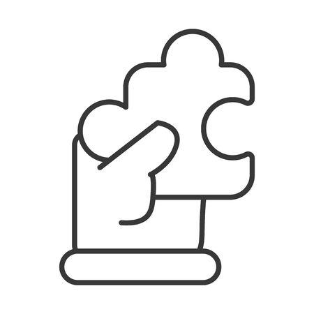 business hand lifting puzzle piece vector illustration design Çizim