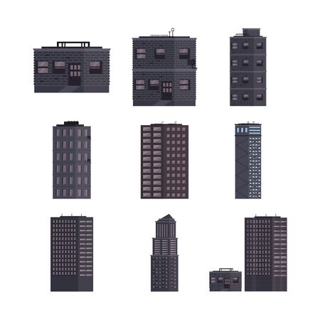bundle of buildings streets icons vector illustration design