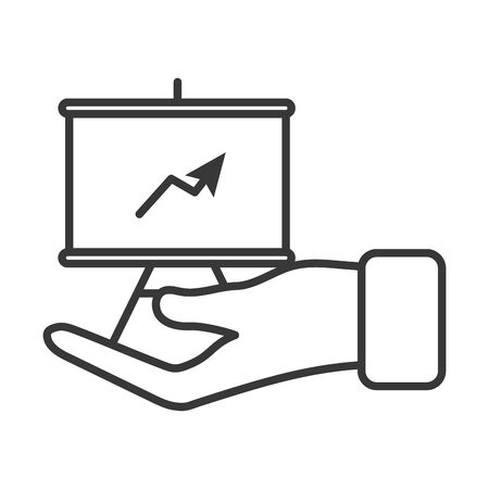 business hand lifting training paperboard vector illustration design