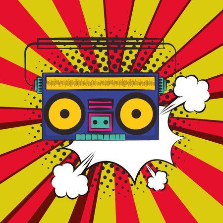 poster pop art style with radio music player vector illustration design Vektorové ilustrace