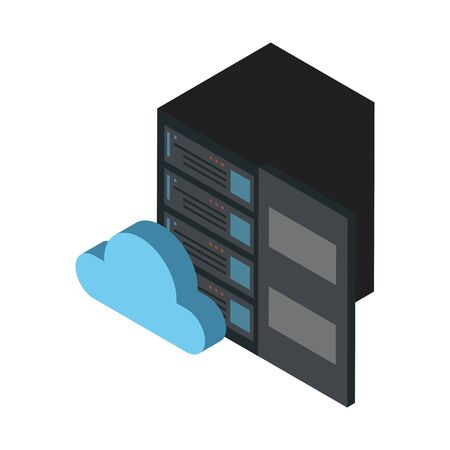 data server tower with cloud computing vector illustration design