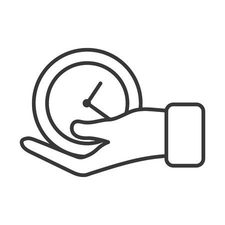 business hand lifting time clock vector illustration design