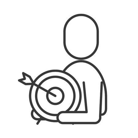 avatar businessman silhouette with target arrow vector illustration design Ilustrace