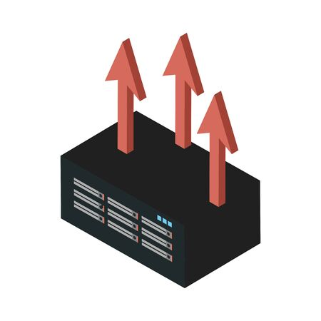 data server tower with arrows up vector illustration design Illustration