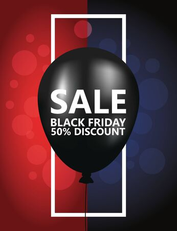 black friday sale poster with balloon helium vector illustration design Ilustrace