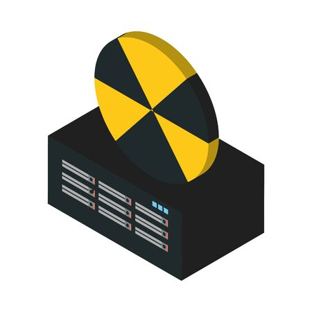 data server tower with caution symbol vector illustration design