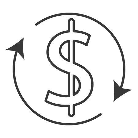 dollar money symbol with arrows vector illustration design