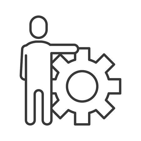 avatar businessman silhouette with gear vector illustration design
