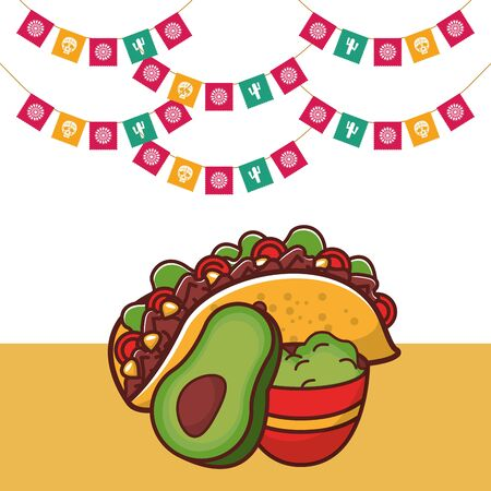 delicious taco mexican food with guacamole sauce vector illustration design