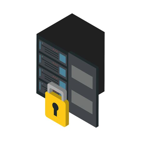data server tower with padlock vector illustration design Illustration