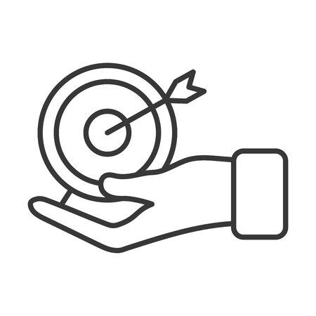 business hand lifting target arrow vector illustration design Çizim