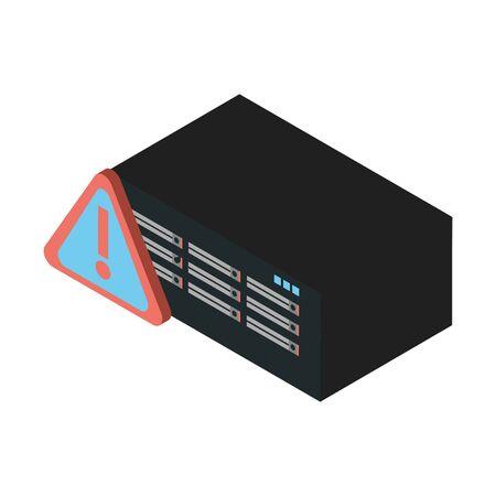 data server tower with alert symbol vector illustration design