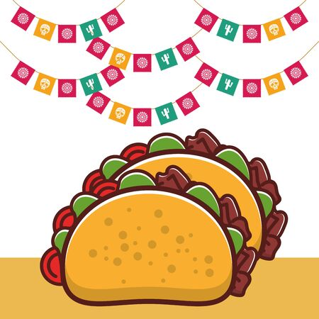 delicious tacos mexican food with garlands vector illustration design