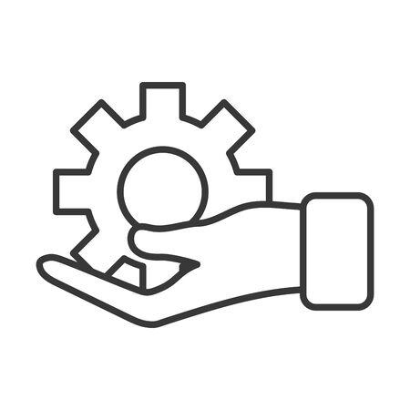 business hand lifting gear machine vector illustration design