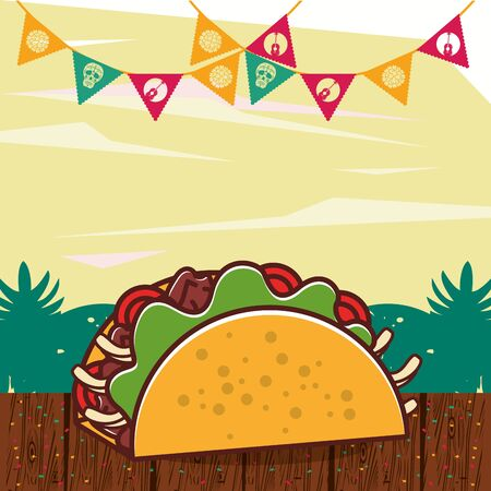 delicious taco mexican food with party garlands vector illustration design