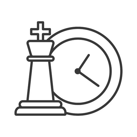 chess piece game with time clock vector illustration design