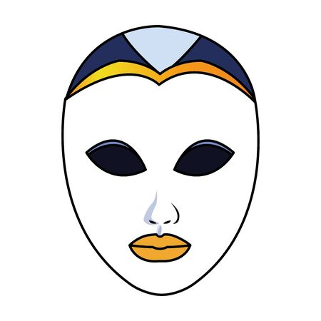 carnival mask face icon over white background, colorful design. vector illustration Ilustrace