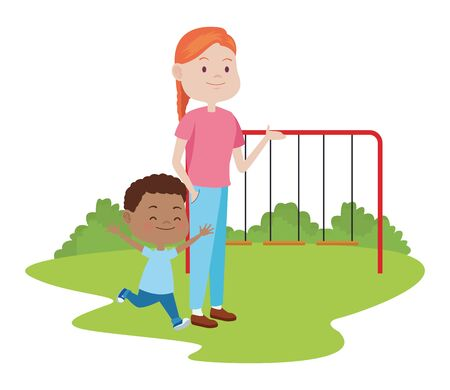 cute mother and son in the park vector illustration design Archivio Fotografico - 134715304