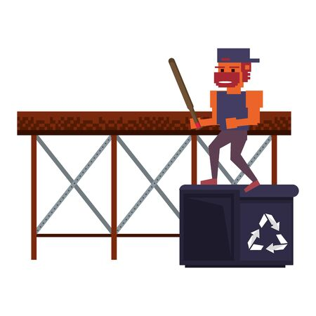 Retro videogame pixelated gangster with bat on trash can cartoons isolated vector illustration graphic design 向量圖像