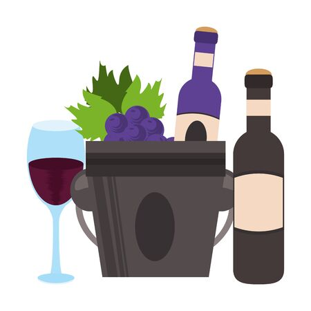 ice bucket with wine bottles and wineglass over white background, vector illustration Foto de archivo - 134732174