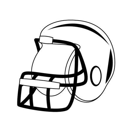 american football sport game helmet uniform protection accesory cartoon vector illustration graphic design Foto de archivo - 134809080