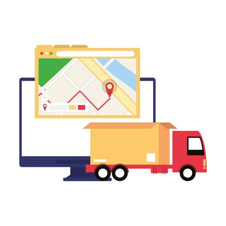 logistic and delivery shipping with truck carrying merchandise and gps location cartoon vector illustration graphic design