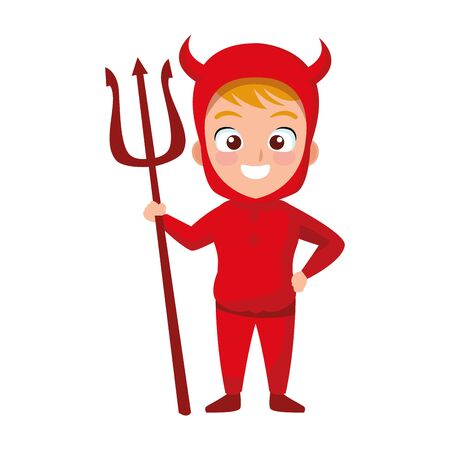 little boy with devil costume character vector illustration design
