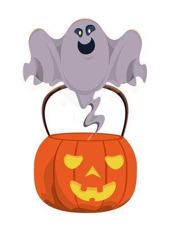 halloween pumpkin with ghost floating vector illustration design